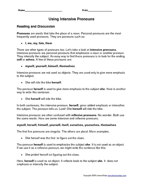 Reflexive And Intensive Pronouns Worksheet 10th Grade With ...
