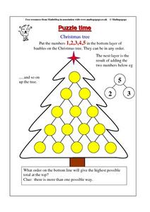 Christmas Tree Math Puzzle Worksheet