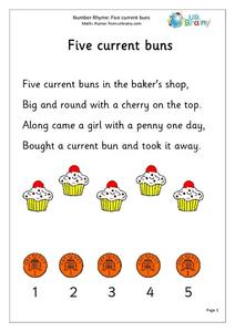 Number Rhyme: Five Current Buns Worksheet
