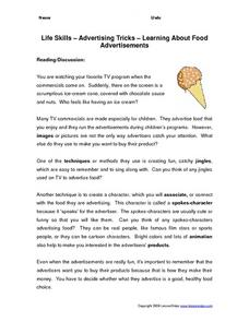 Life Skills - Advertising Tricks - Learning About Food Advertisements Worksheet