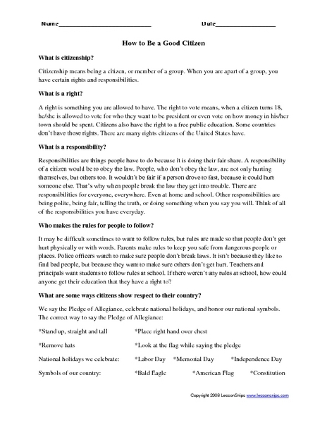 How To Be A Good Citizen Worksheet For 5th 8th Grade