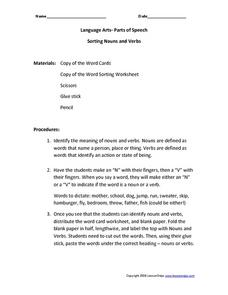 Language Arts- Parts of Speech: Sorting Nouns and Verbs Worksheet