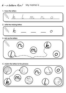 K - O Letters Fun! Worksheet