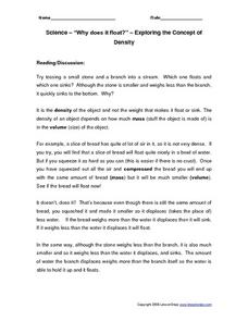 "Science - ""Why does it float?"" - Exploring the Concept of Density Worksheet"
