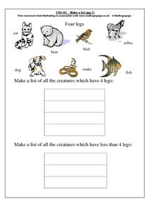 Four Legs Worksheet