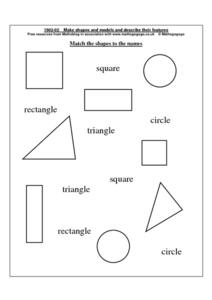 Match the Shapes To the Names Worksheet