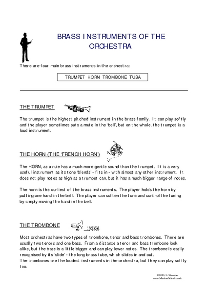 Brass Instruments of the Orchestra Worksheet