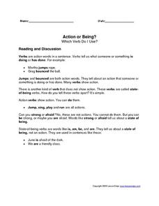 Action or Being?--Which Verb Do I Use? Worksheet
