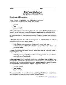 The Present Is Perfect: Using Present Perfect Tense Worksheet