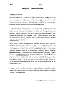 Dangling Modifier Worksheet 013 - Dangling Modifier Worksheet