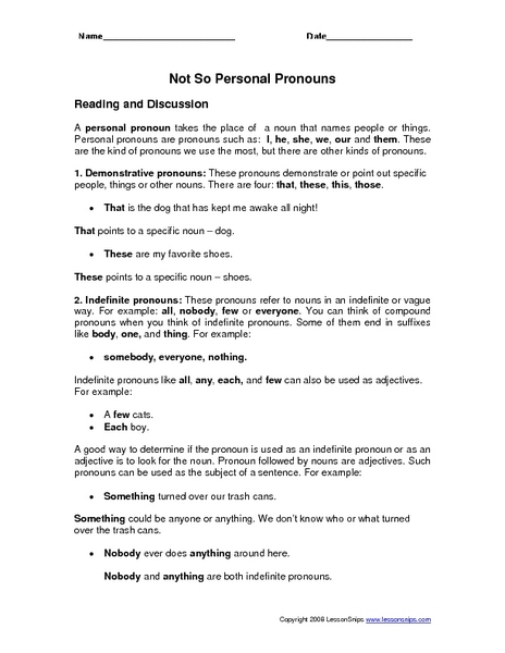 Not So Personal Pronouns Worksheet for 4th - 6th Grade