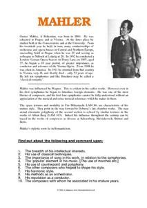 Conductors- Gustav Mahler Worksheet