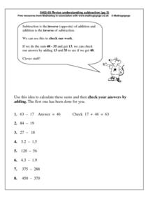 Revise Understanding Subtraction Worksheet