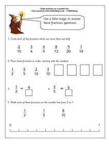 Order Fractions on a Number Line Worksheet