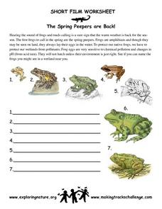 The Spring Peepers are Back Worksheet