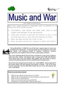The Role of Music in Time of War Worksheet