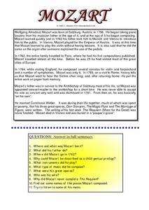 Wolfgang Amadeus Mozart - reading worksheet - Free ESL printable ...