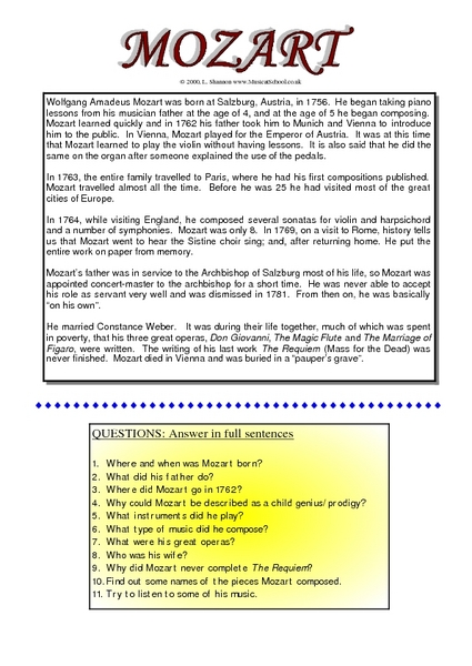 The Life of Mozart Worksheet for 9th Grade | Lesson Planet