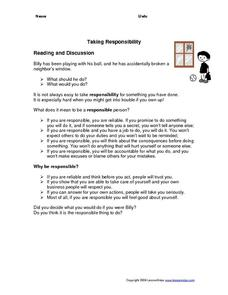 Taking Responsibility Worksheet