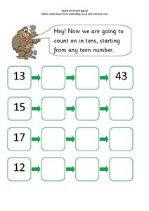 Counting On In Tens Worksheet