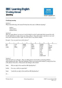 BBC Learning English, Speaking (Clarifying Meaning) Worksheet