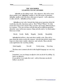The Describer - Adverbs Worksheet
