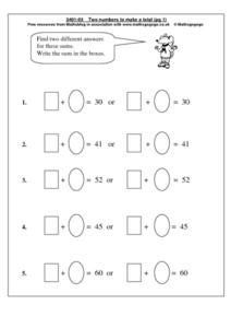 Two Numbers to Make a Deal Worksheet