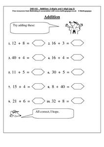 Addition With One and Two Digit Numbers Worksheet
