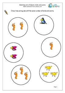 Matching Sets of Objects: Birds and Worms Worksheet