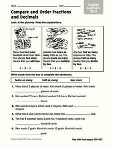 Compare and Order Fractions and Decimals: English Learners Worksheet