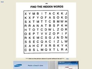 Find the Hidden Words (#4) Worksheet