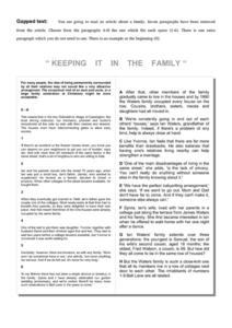 """Keeping It in the Family"" Worksheet"