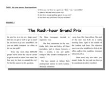 The Rush-Hour Grand Prix Worksheet