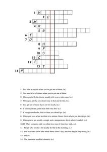 Health Issues Crossword Puzzle Worksheet