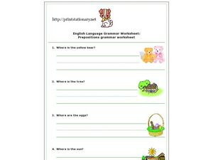 English Language Grammar Worksheet:  Preposition Grammar Worksheet Worksheet
