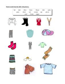 Clothing Words Worksheet