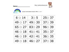 Compare Math Problems Worksheet