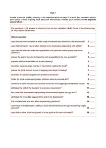 Natural Books Worksheet
