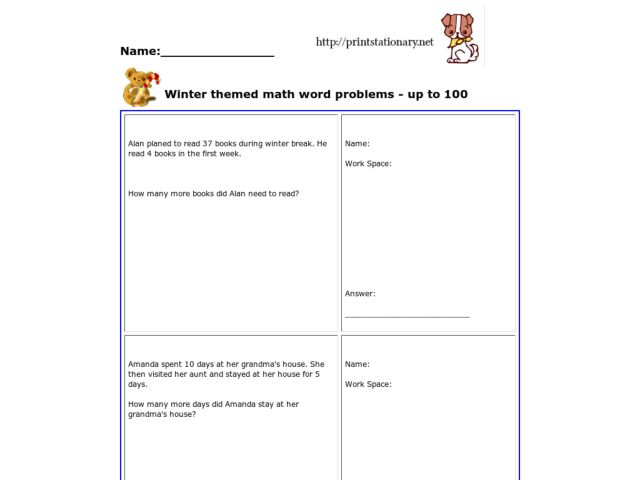Winter Themed Math Word Problems - Up to 100 Worksheet