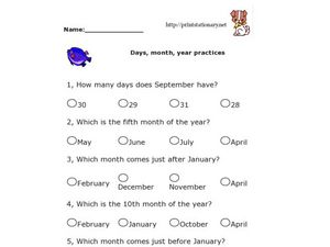 Days, Month, Year - Calendar Practice Worksheet