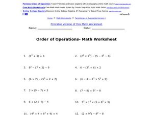 Order of Operations- Square Numbers Math Worksheet Worksheet