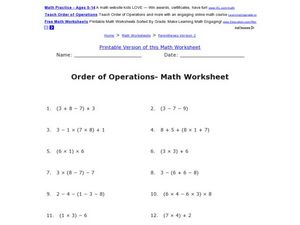 Order of Operations- One Digit Whole Numbers Math Worksheet Worksheet