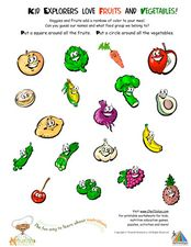 Kid Explorers Love Fruits and Vegetables! Worksheet