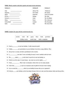 Tourist Attraction Match Worksheet