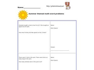 Summer Math Word Problems Worksheet
