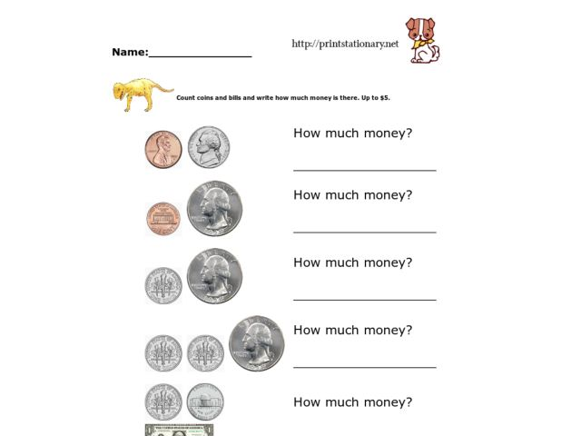 Addition With Coins and Dollar Bills Worksheet for 2nd