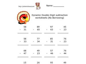 Dynamic Double-Digit Subtraction Worksheets (No Borrowing) Worksheet