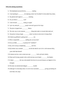Fill in the Missing Prepositions Worksheet