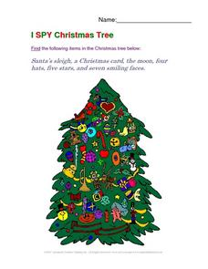 I Spy Christmas Tree Worksheet