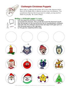Clothespin Christmas Puppets Worksheet